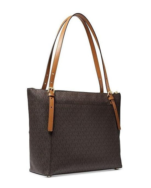 Michael Kors Signature Voyager Large East West Top Leather Zip Tote