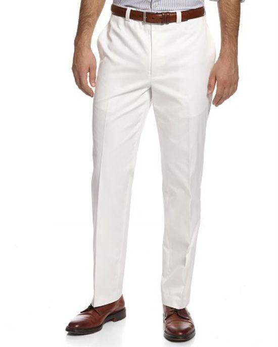 Lauren by Ralph Lauren Solid Cotton Dress Pants-RALPH LAUREN-Fashionbarn shop