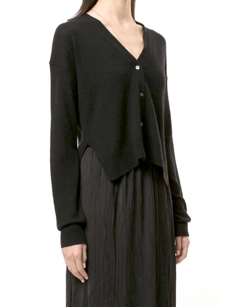 Theory Cropped Cardigan In Feather Cashmere, Black