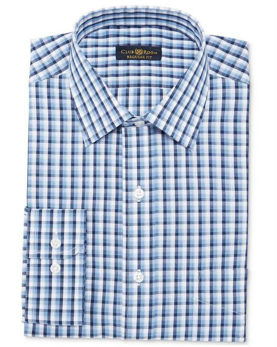 Club Room Estate Wrinkle Resistant Blue Haze Check Dress Shirt-CLUB ROOM-Fashionbarn shop