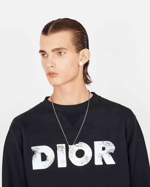 Dior and Daniel Arsham Eroded-Effect 3D Printed Logo Black Molton Cotton Sweatshirt