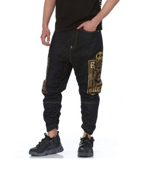 Evisu Heraldry Embroidered Denim Jogger Pants