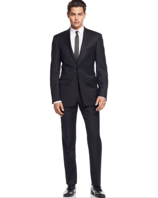 Calvin Klein Black Tonal-Striped Slim-Fit 2 Piece Suit-CALVIN KLEIN-Fashionbarn shop