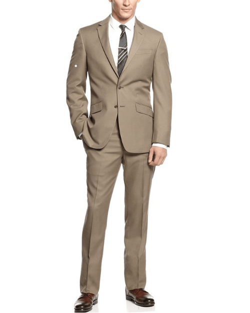 Unlisted by Kenneth Cole Tan Solid Trim-Fit 2 Piece Suit-KENNETH COLE-Fashionbarn shop