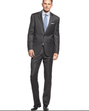 Kenneth Cole New York Charcoal Texture Slim-Fit Suit-KENNETH COLE-Fashionbarn shop
