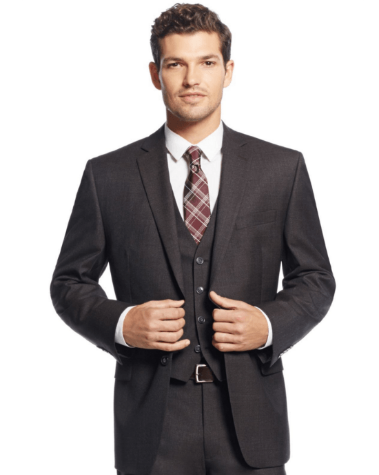 Calvin Klein Brown Sharkskin Suit-CALVIN KLEIN-Fashionbarn shop