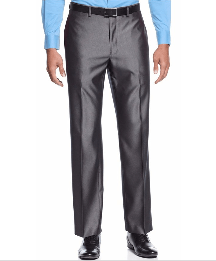 Alfani Pants Shiny Gray Herringbone Flat Front Dress Pants-ALFANI-Fashionbarn shop