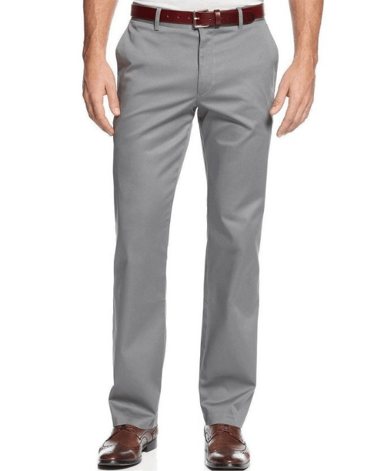 Bar III Cotton Twill Dress Pants Cement Gray Slim Fit Flat Front-BAR III-Fashionbarn shop