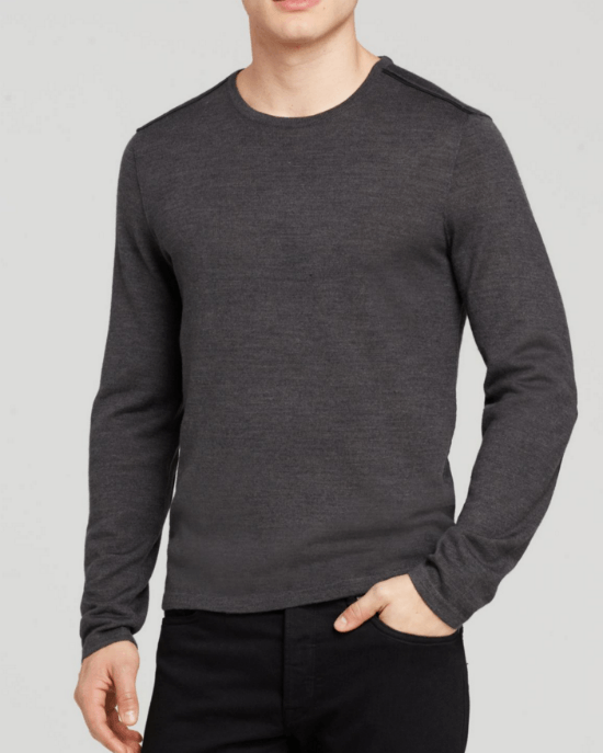 John Varvatos Star USA Crewneck Sweater with Leather Elbow Patches-JOHN VARVATOS STAR USA-Fashionbarn shop