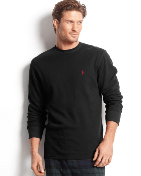 Polo Ralph Lauren Brown Big And Tall Long Sleeve Crew Neck Waffle Thermal Top-POLO RALPH LAUREN-Fashionbarn shop