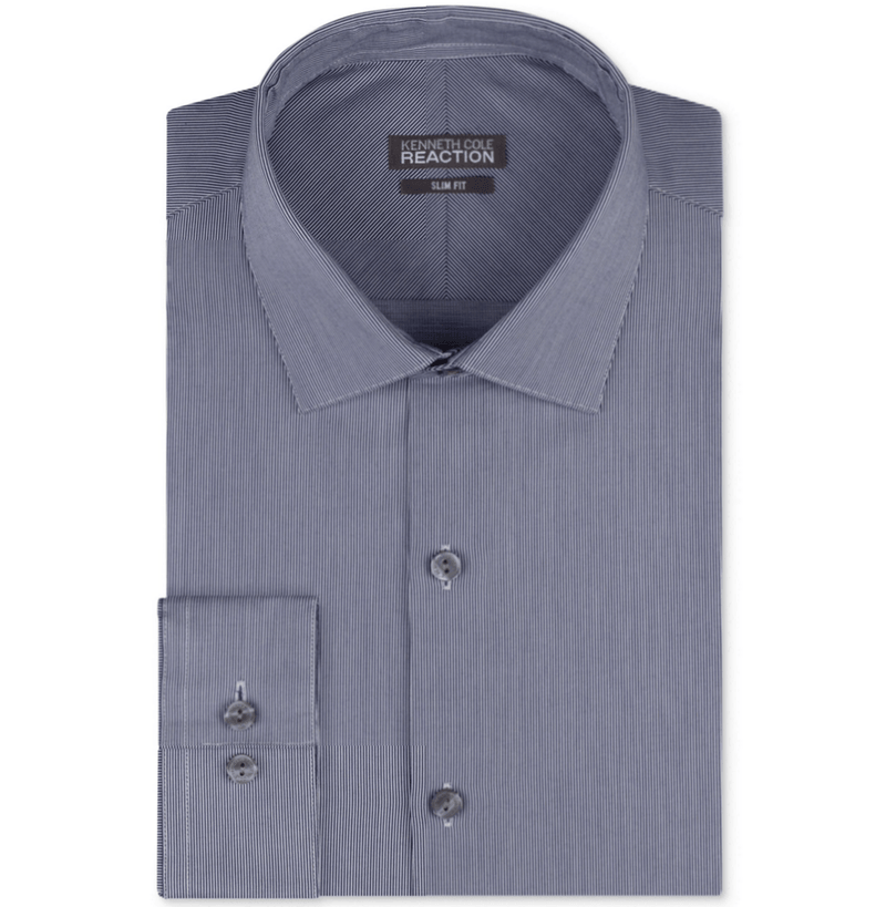 Kenneth Cole Reaction Slim-Fit Blue and White Tight Stripe Dress Shirt-KENNETH COLE REACTION-Fashionbarn shop