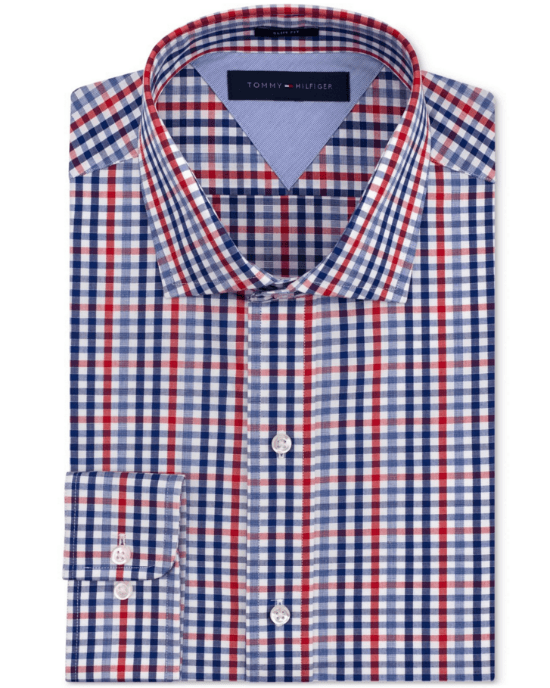 aeab45905 Tommy Hilfiger Slim-Fit Red and Blue Check Dress Shirt