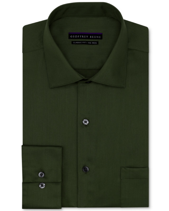 Geoffrey Beene Non-Iron Sateen Solid Dress Shirt-GEOFFREY BEENE-Fashionbarn shop