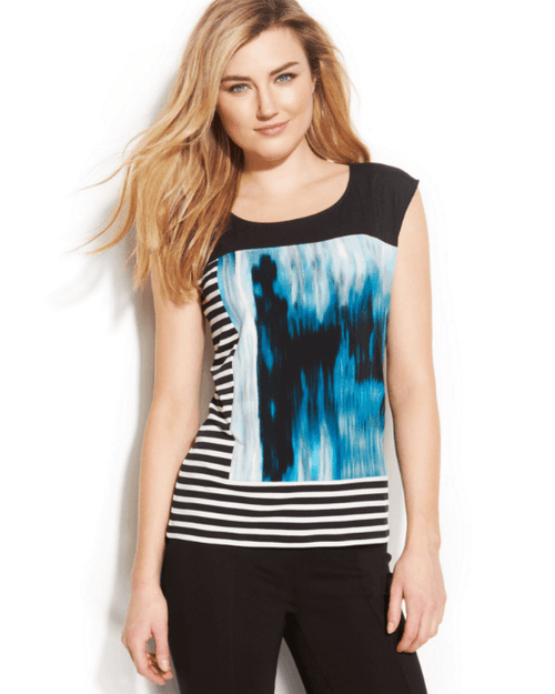 Calvin Klein Cap-Sleeve Mixed-Print Top-CALVIN KLEIN-Fashionbarn shop