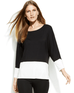 Calvin Klein Dolman-Sleeve Colorblock Top-CALVIN KLEIN-Fashionbarn shop