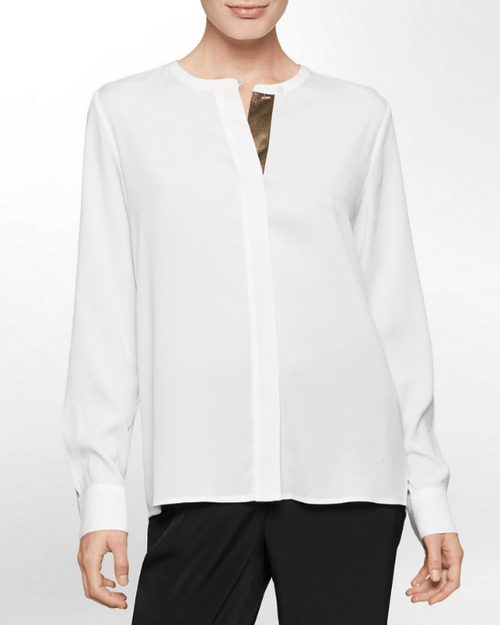 Calvin Klein White Label Metallic Trim Long Sleeve Top - Fashionbarn shop