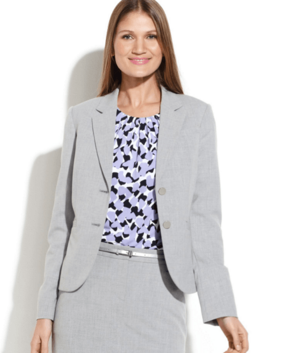 Calvin Klein Petite Size Gray Twobutton Crosshatch Jacket-CALVIN KLEIN-Fashionbarn shop