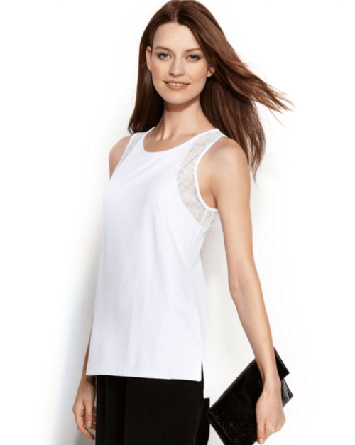 Calvin Klein Sleeveless Mesh-Panel Top-CALVIN KLEIN-Fashionbarn shop