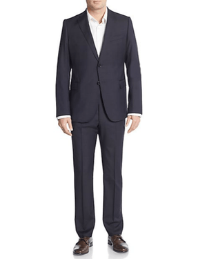 Armani Collezioni Regular-Fit Melange Virgin Wool Suit-ARMANI COLLEZIONI-Fashionbarn shop
