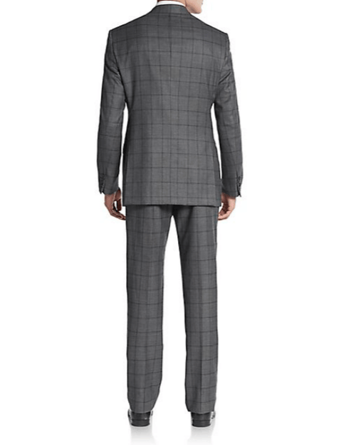Armani Collezioni Regular-Fit Windowpane Wool Suit-ARMANI COLLEZIONI-Fashionbarn shop