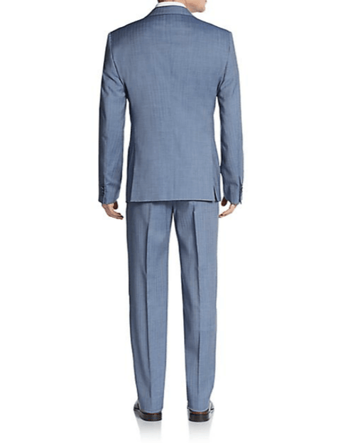 Armani Collezioni Regular-Fit Herringbone Virgin Wool Suit-ARMANI COLLEZIONI-Fashionbarn shop