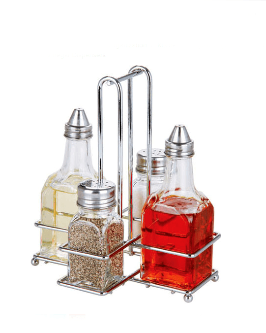 Home Basics 5 Piece Cruet Set with Rack
