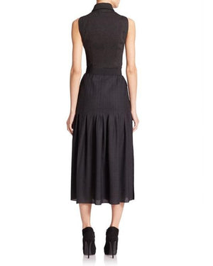 Akris Punto Black Zip-front Belted Pleated Dress