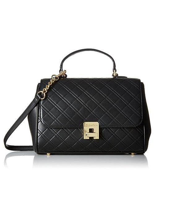 Calvin Klein Quilted Satchel Black / Gold