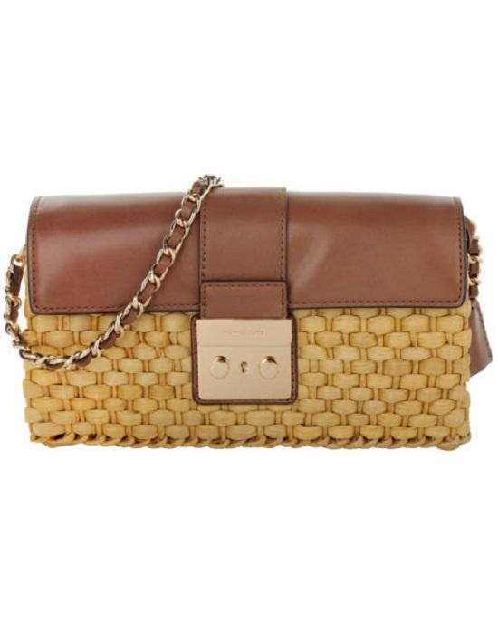 Michael Michael Kors Straw Gabriella Clutch Walnut Gold