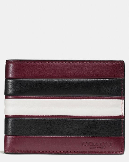 COACH 75308 Men's Varsity Stripe Slim Leather Wallet
