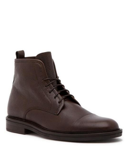 Theory Brown Pebbled Leather Boots