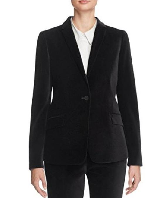 T Tahari Womens Randa Velvet Notched Lapel One-Button Blazer