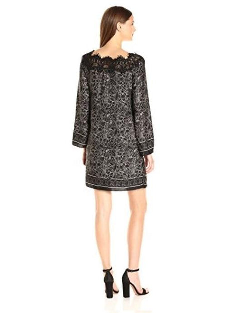 Max Studio Women's Printed Matte Charmeuse Lace Longsleeve Dress