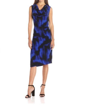 T Tahari Blue Small S Radiance Genevieve Sheath Dress