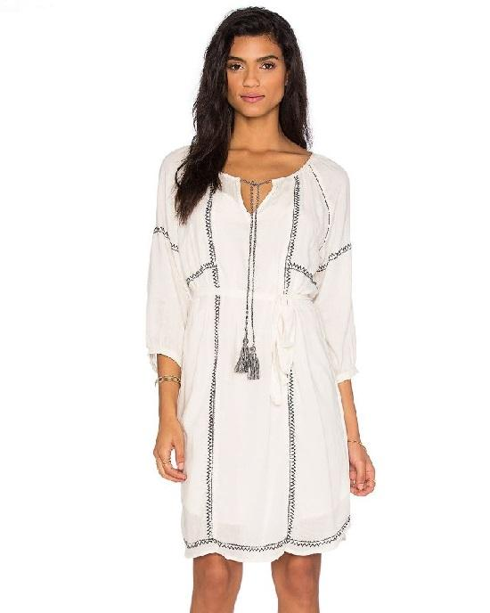 Velvet By Graham & Spencer White 3/4 Length Sleeve Tunic Dress