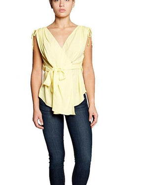Bobeau Women's Priya Wrap Blouse with Tie Waist