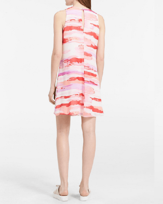 Calvin Klein Watercolor Trapeze Sheer Dress - Fashionbarn shop