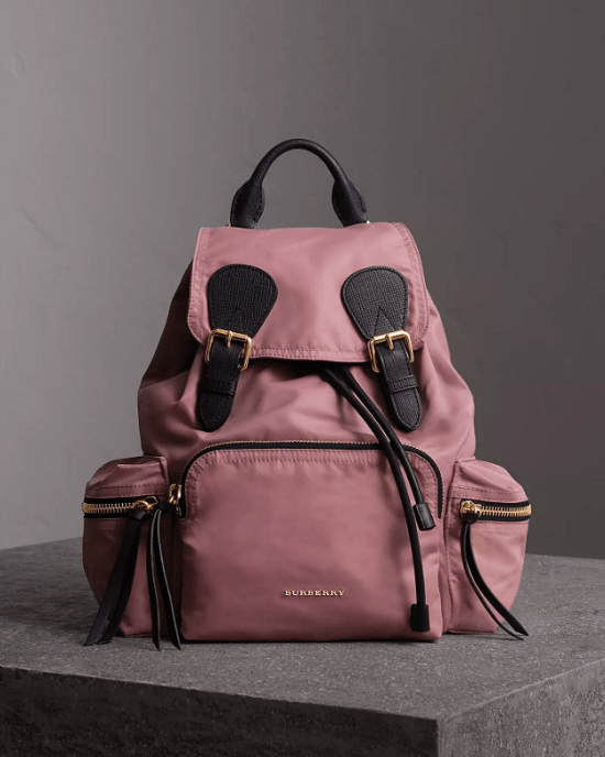 Buryerry Medium Rucksack in Technical Nylon and Leather