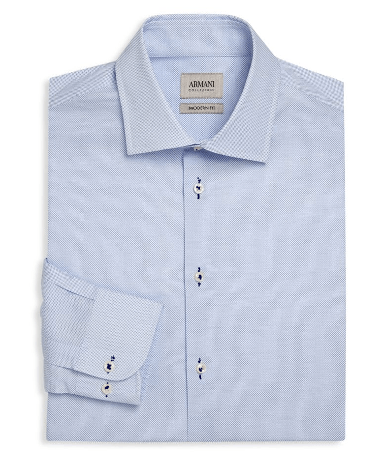 Armani Collezioni Modern-Fit Micro Dot Dress Shirt