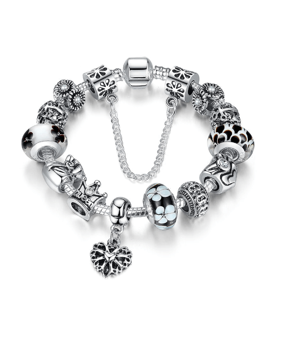Steffe Silver Charms Bracelet With Queen Crown Beads