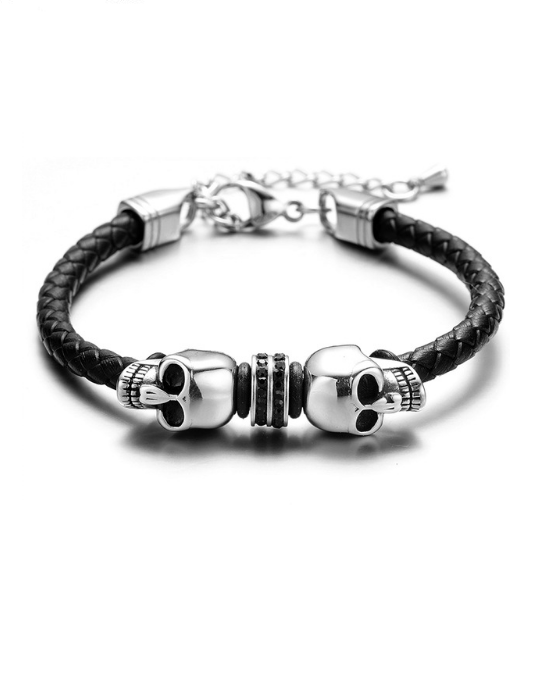 Steffe Men's Stainless Steel Beads Chain Hook Station Bracelet
