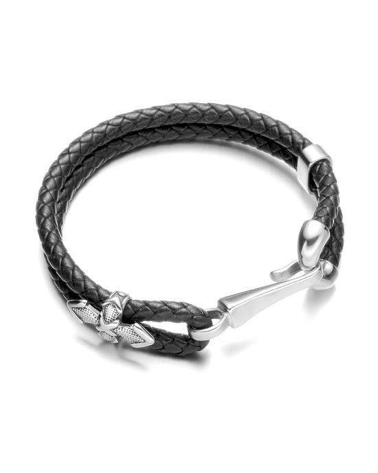 Steffe Men's Stainless Steel Fish Hook Station Bracelet