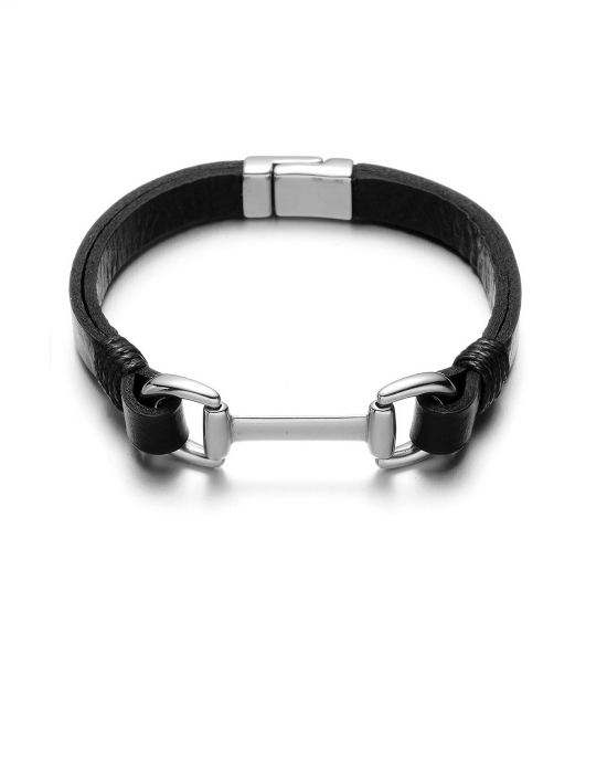 Steffe Men's Magnet Licorice Clasp Cuff Bracelet
