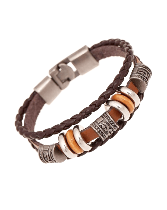Steffe Men's Handmade Retro Genuine Leather Woven Charm Bracelet