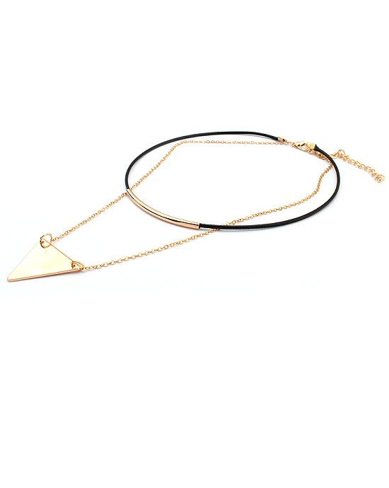 Steffe Triangle Pendant Double chains leather simple choker necklace