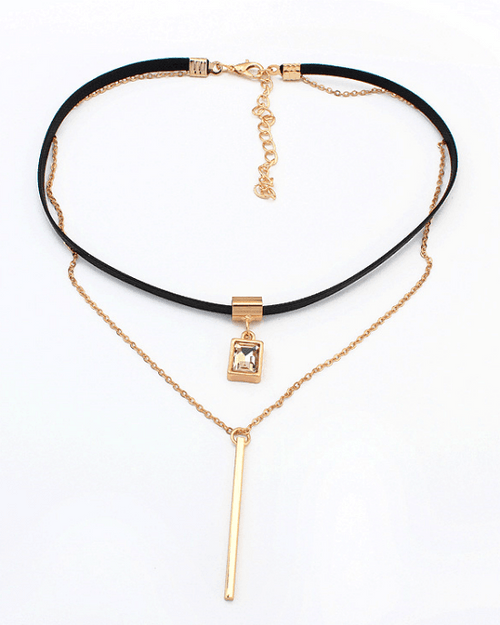 Steffe Double chains Y Choker Necklace