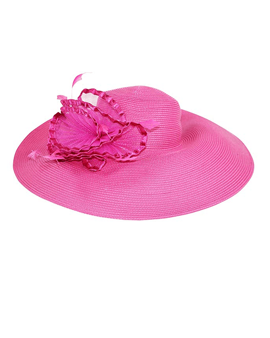 Fine Millinery by August Hat Co Adjustable Wide Brim Hibiscus Sun Hat
