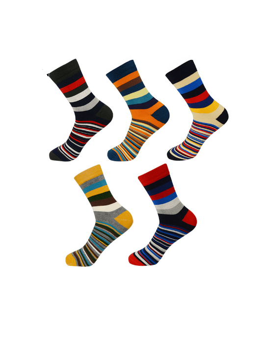 Socks Teams Men's 5-Pack Multistripe Crew Socks