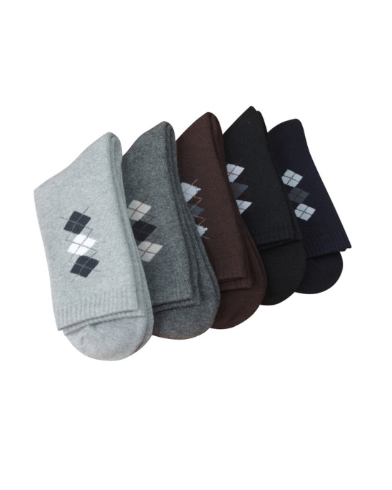 Teams Men's 5-Pack Pop Mini Argyle Winter thicken warm terry socks