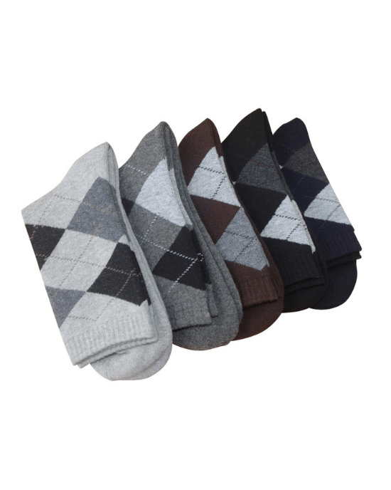 Socks Teams Men's 5-Pack Argyle Winter thicken warm terry socks